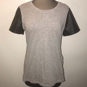 Grey Fabletics T shirt with Faux Leather Sleeves